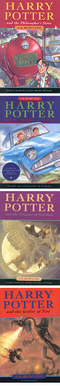 [Pärmarna på de fyra första Potter-böckerna]